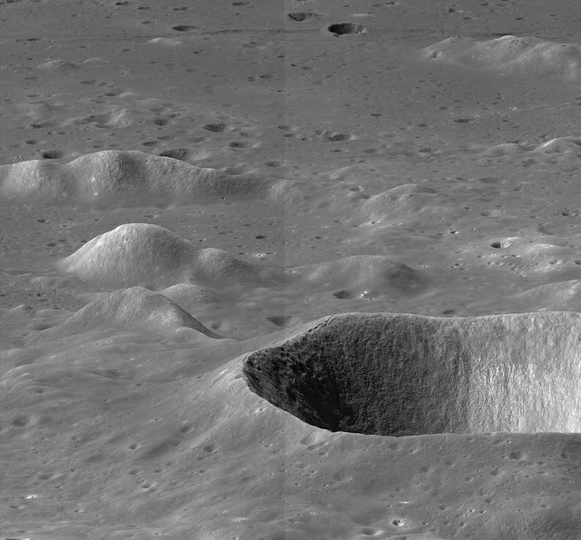 Unusually low LROC NAC oblique of Maury crater and points immediately south