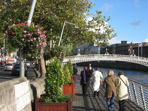 Walking towards the famous Sixpenny Bridge over the equally famous Liffey River in the centre of Dublin