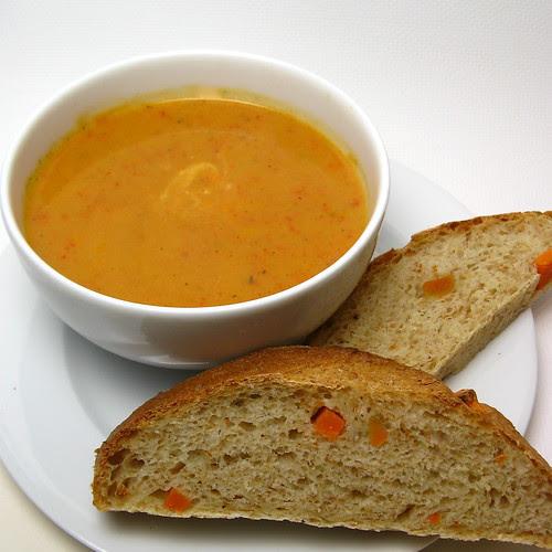 Roasted Pepper Soup & Sweet Potato Bread