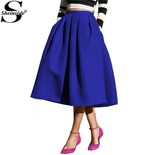 Sheinside A Line Flare Pleated Fashion Street Style Women's Solid Plain Casual Vintage Elegant Pockets Midi Skirt