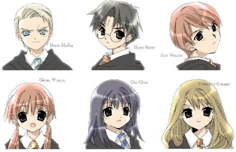 harry potter characters drawn anime style