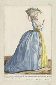 """1784 fashion plate from Gallerie des Modes: """"Robe en Foureau, manche retroussé, le bord de la Robe retourné par devant, avec des tresse at un bouton, auquel pend un gland."""" Museum of Fine Arts, Boston."""