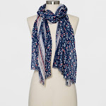 Collection XIIX Women's Floral Print Oblong Scarf - Navy, Size: Small, Blue