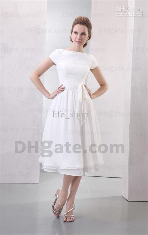 Wholesale Tea Length Beach Cheap Wedding Dresses Bateau A