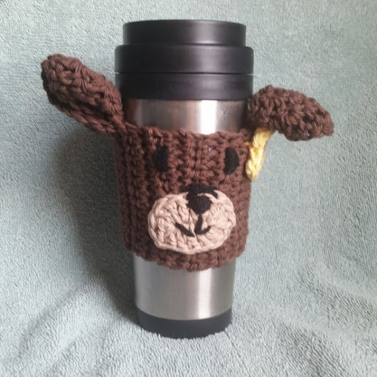 Brown Bear Mug Cozy Great Gift Idea Crocheted  by heffernanscrafts