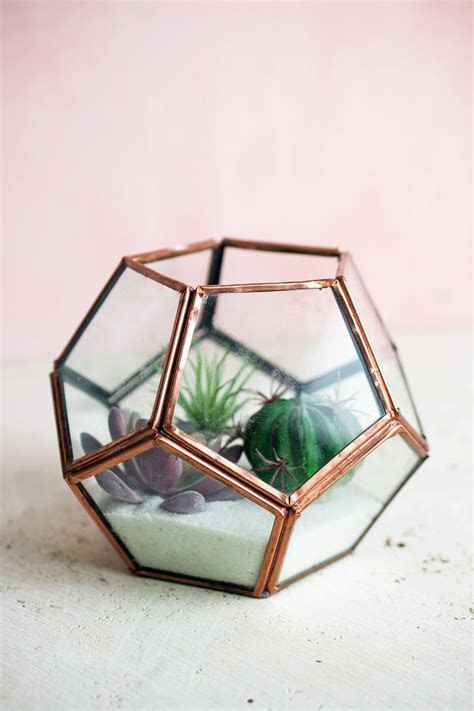 "Dodecahedron Copper Glass Terrarium Display Box 4.4""x 5.5"""