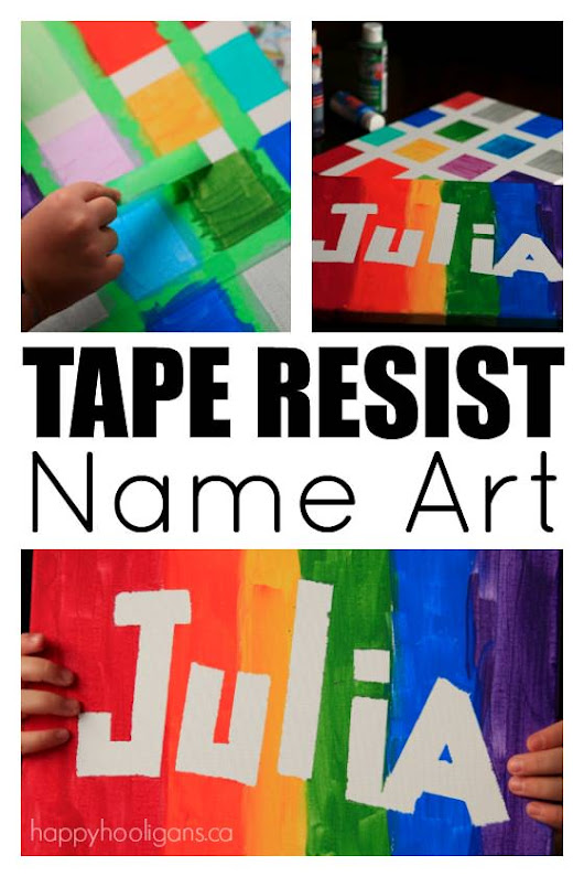 Tape Resist Name Art For Kids of All Ages - Happy Hooligans