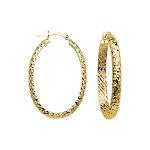 14K Yellow Gold Oval 4mm Wide Diamond-cut Hoop Earrings