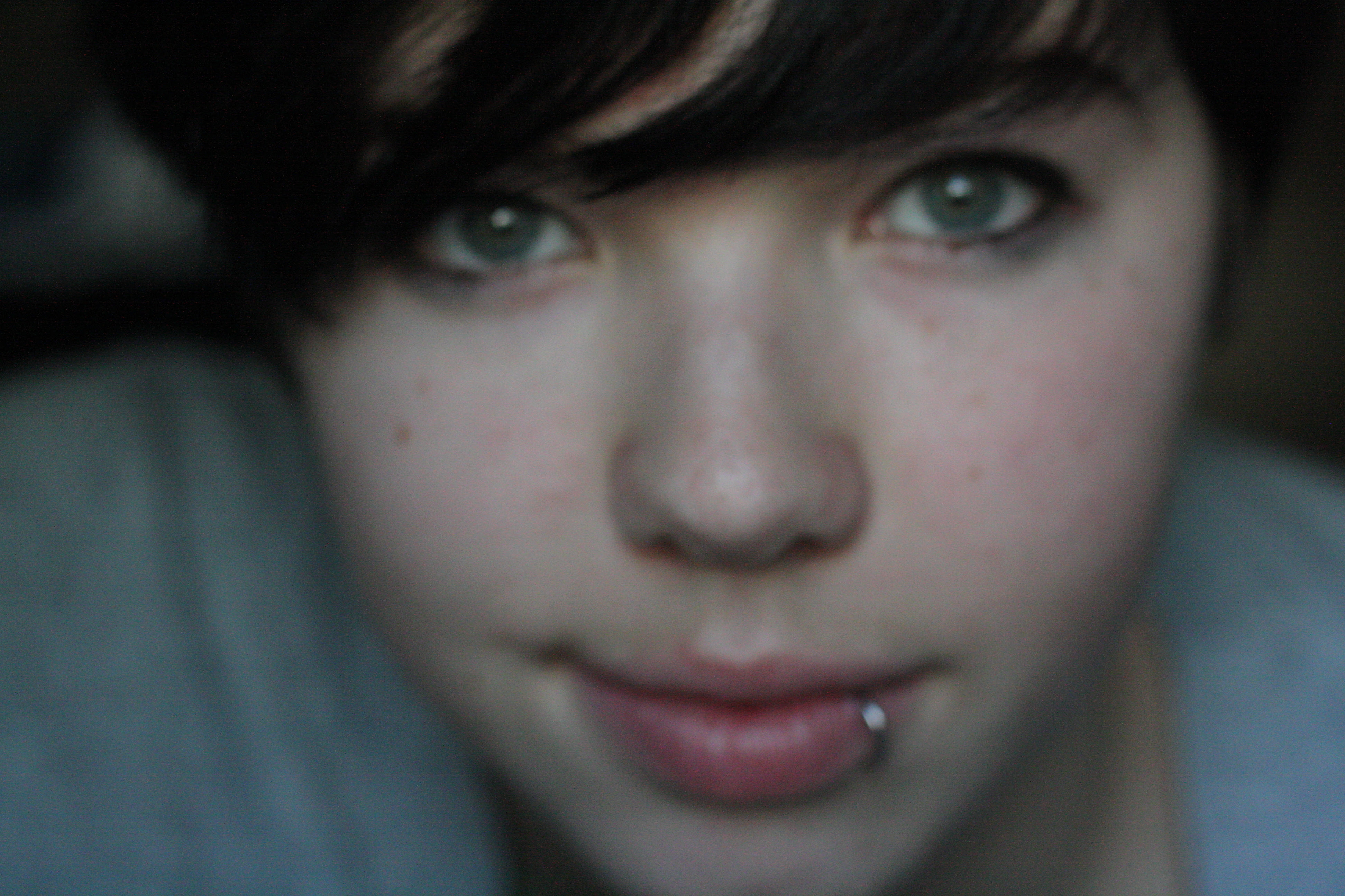 finally getting back to self portraits...this one's blurry but...I like it. :]