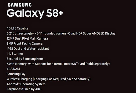 Samsung Galaxy S8+ specs sheet surfaced: 6.2-inch Quad HD+ Super AMOLED display, Iris scanner, IP68 dust and water-resistant - 9to5Net