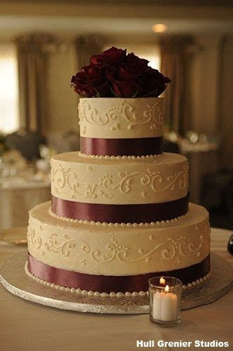 burgandy and ivory wedding cakes   Tier Burgundy And Pink