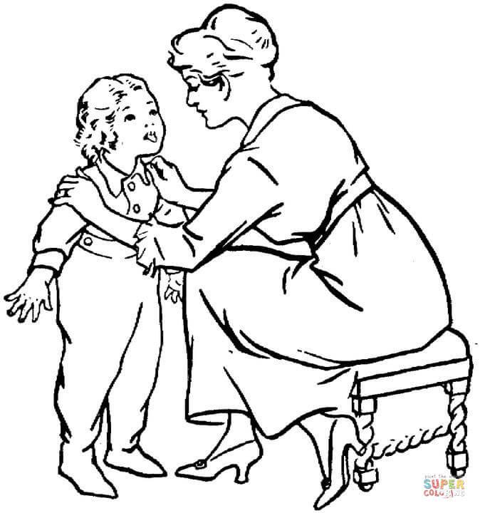 Image Of Imagen Para Colorear De Una Mama Con Su Hijo Dibujos Para