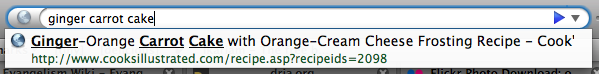 Firefox 3's AwesomeBar in action - three keywords