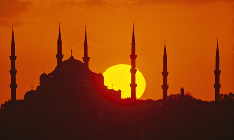 Blue mosque during sunset Istanbul Turkey
