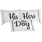 Collections Etc 3pc Pet Lovers Pillowcase Set - Perfect for Christmas or Wedding Gift for Cat Lovers Dog Lovers Dog