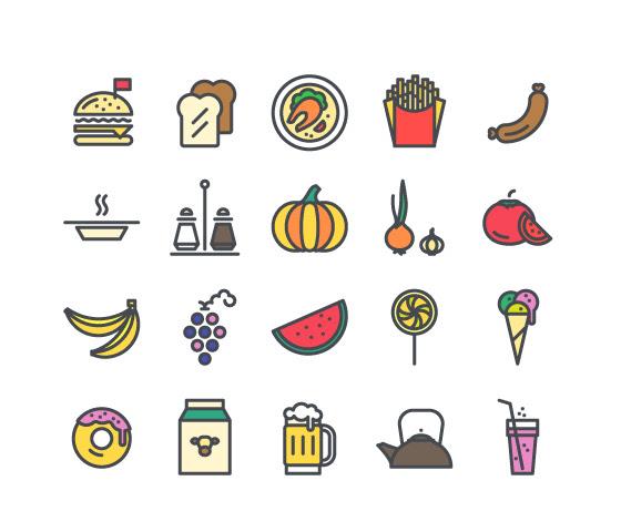 無料素材 パンや牛乳にソーダなど食べ物の可愛いイラストアイコンセット