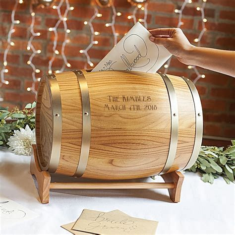 Wood Wine Barrel Gift Cards Holder Personalized