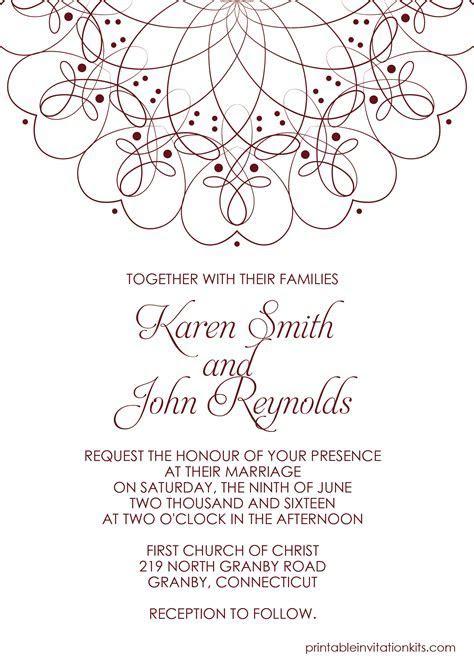 spiral border invitation   free PDF template for weddings