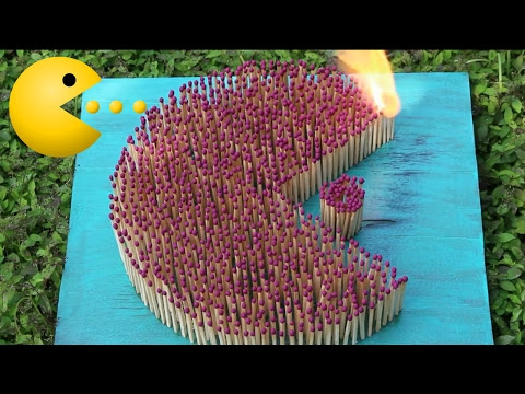 Matchstick chain reaction - Pacman - Amazing Fire Domino