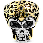 Stainless Steel Two-Tone Black CZ Large Statement Cocktail Mens Skull Ring 12.5