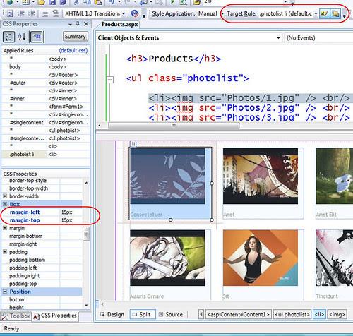 CSS Properties Window VS 2008 Web Designer