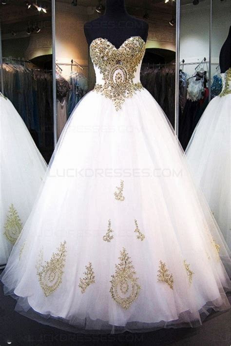 Ball Gown Sweetheart Gold Lace Appliques Wedding Dresses