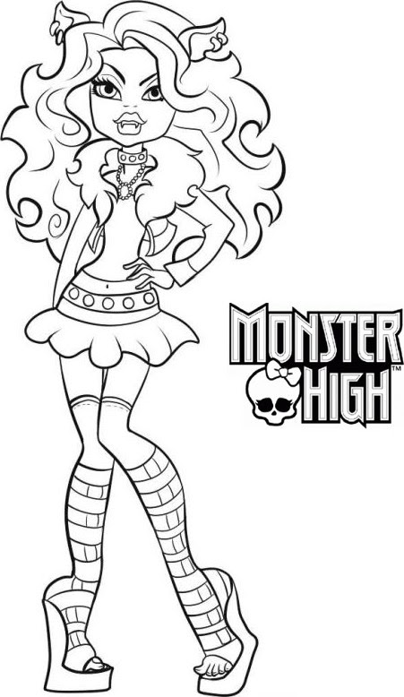 Coloriage A Imprimer Monster High Clawdeen Wolf Gratuit Et Colorier