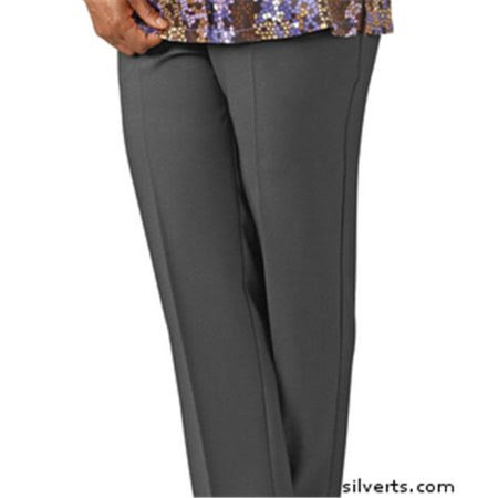 Silverts 130912206 Womens Elastic Waist Pants 2 Pockets - Ladies Pull On Pants - 42, Smoke Grey