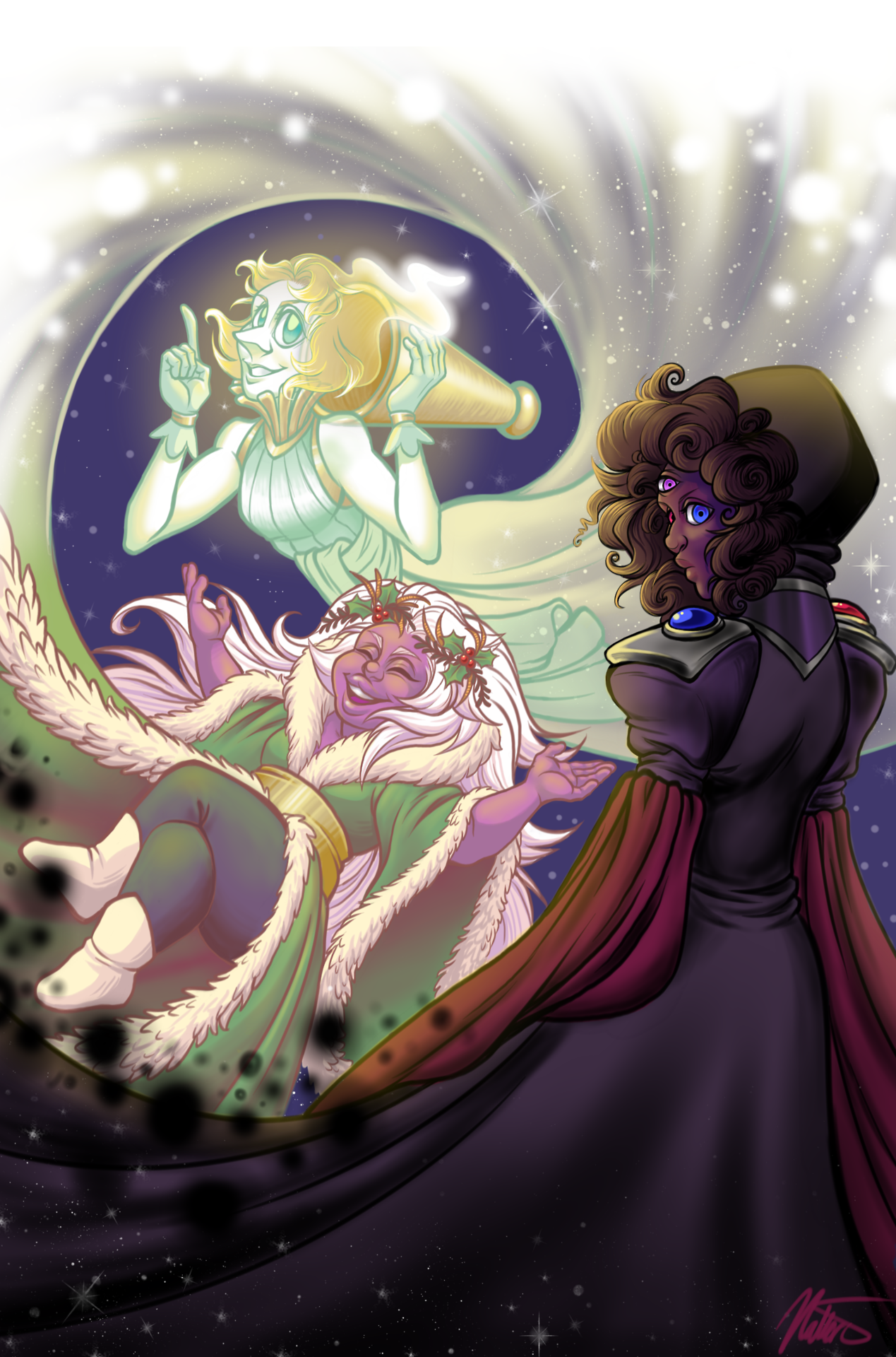 The Gems Spirits of Christmas Past, Present and Future! This is a re-draw of my christmas piece from last year. Comparison of the old and new piece here: link