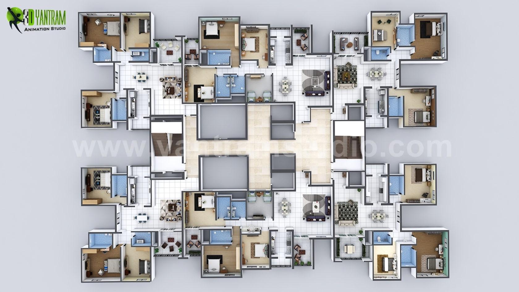 Creative 22D Floor Plan of Entire Apartment Floor Design on Architizer