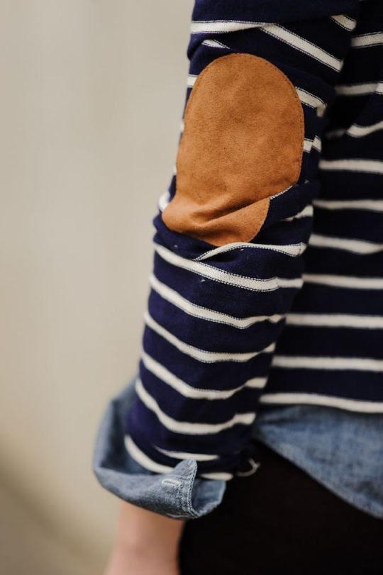 elbow pads and denim shirt
