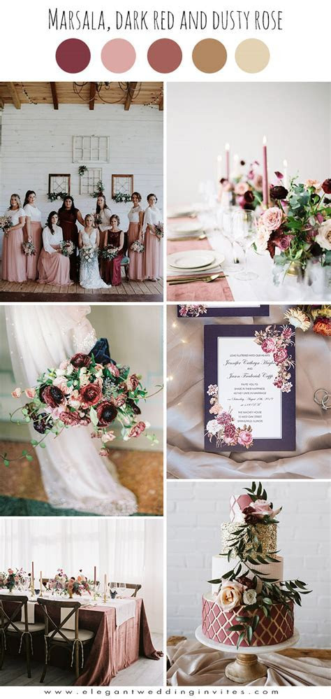 Top 6 Burgundy & Dark Red Fall Wedding Colors with