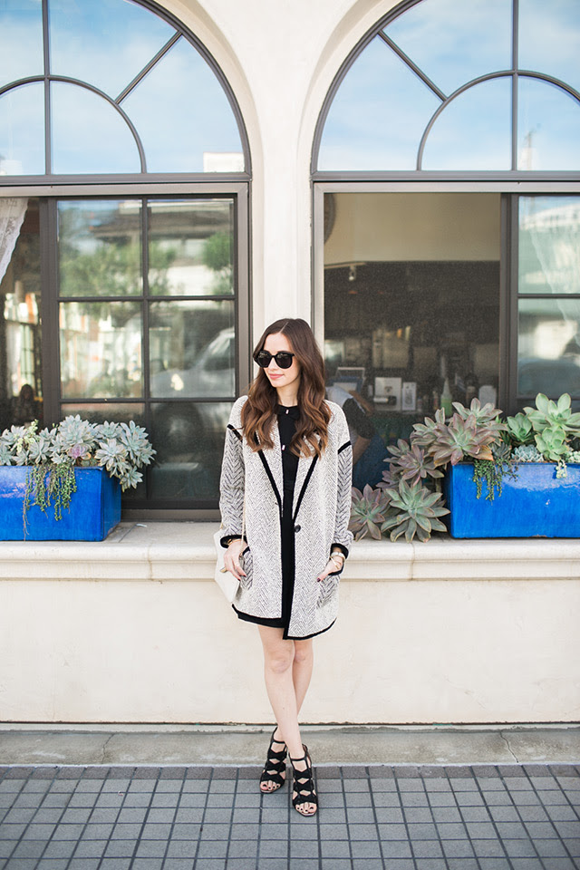 sweater jacket with black dress M Loves M