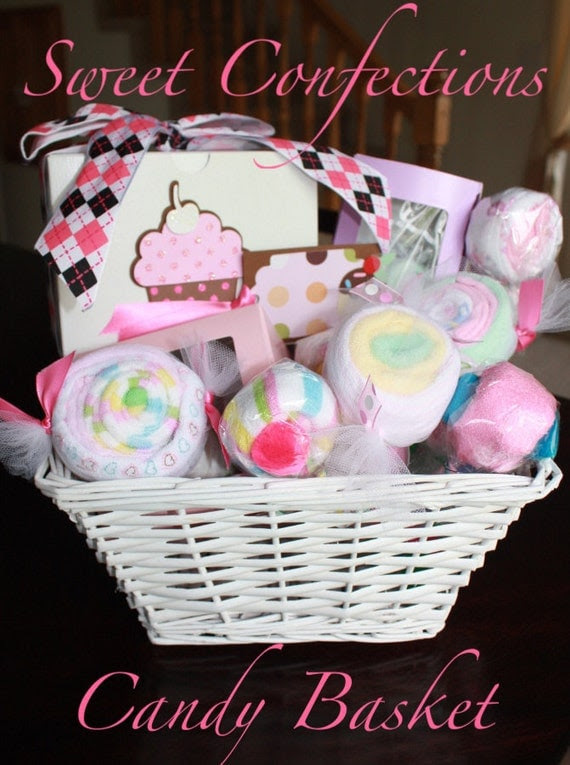 25% OFF SALE - Sweet Confections Candy Basket - filled with 31 pieces of baby items