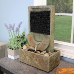 """Half Moon Natural Slate Indoor Tabletop Water Fountain Feature - 16"""" by Sunnydaze Decor"""