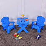 Gymax Plastic Children Kids Table & Chair Set 3-Piece Play Furniture In/Outdoor Blue