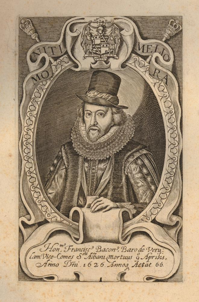Portrait of Francis Bacon, half length in an oval, wearing hat, ruff, robes, and ribbon; above, a motto, 'Moniti meliora', and a coat of arms.  Engraving