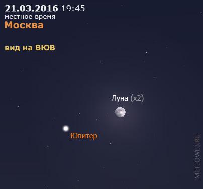 Растущая Луна и Юпитер на вечернем небе Москвы 21 марта 2016 г.
