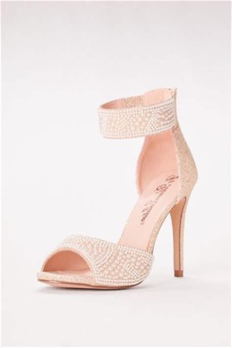High Heel Pearl Embellished Peep Toe Sandals   David's Bridal