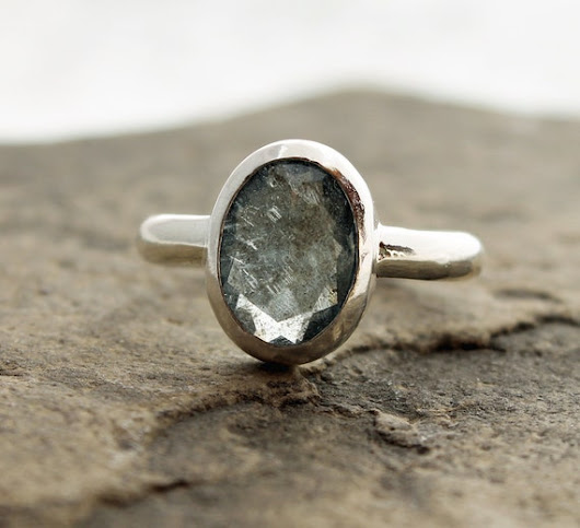 moss aquamarine ring set in fine and sterling by TheSpiralRiver