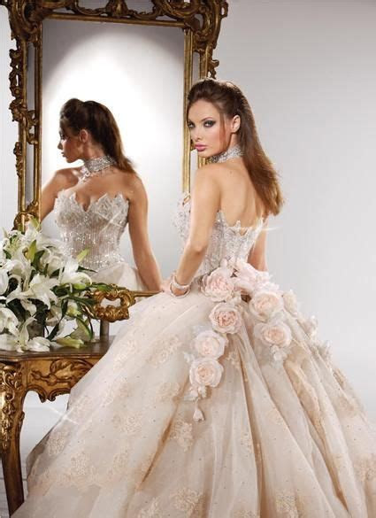 beautiful light pale pink rose beige ball gown wedding