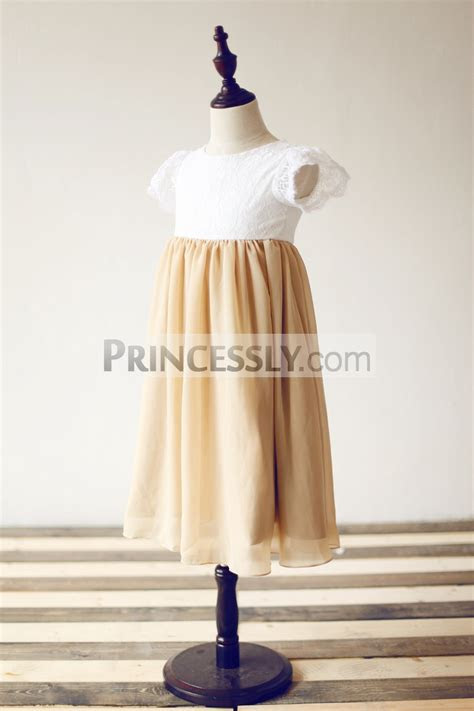 Short Puffy Sleeves Ivory Lace Champagne Chiffon Flower