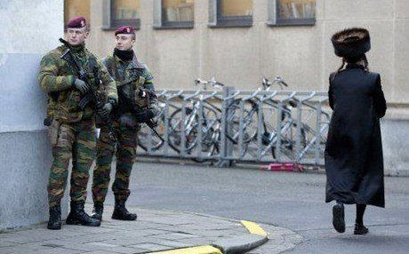 Belgian paramilitary commandos on patrol near a synagogue in the city of Antwerp