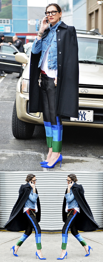 TOMMY TON JAK JIL STYLE.COM JENNA LYONS NEW YORK FASHION WEEK NYFW BEST LOOK STREET STYLE COLOR BLCK PANTS COBALT BLUE HEELS GREEN RED CAOT OVER SHOULDER DENIM JEAN JACKET BLACK THINK EYEGLASSES FRAMES