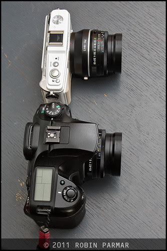 Pentax K20d and Olympus E-P1 with FA43 Limited