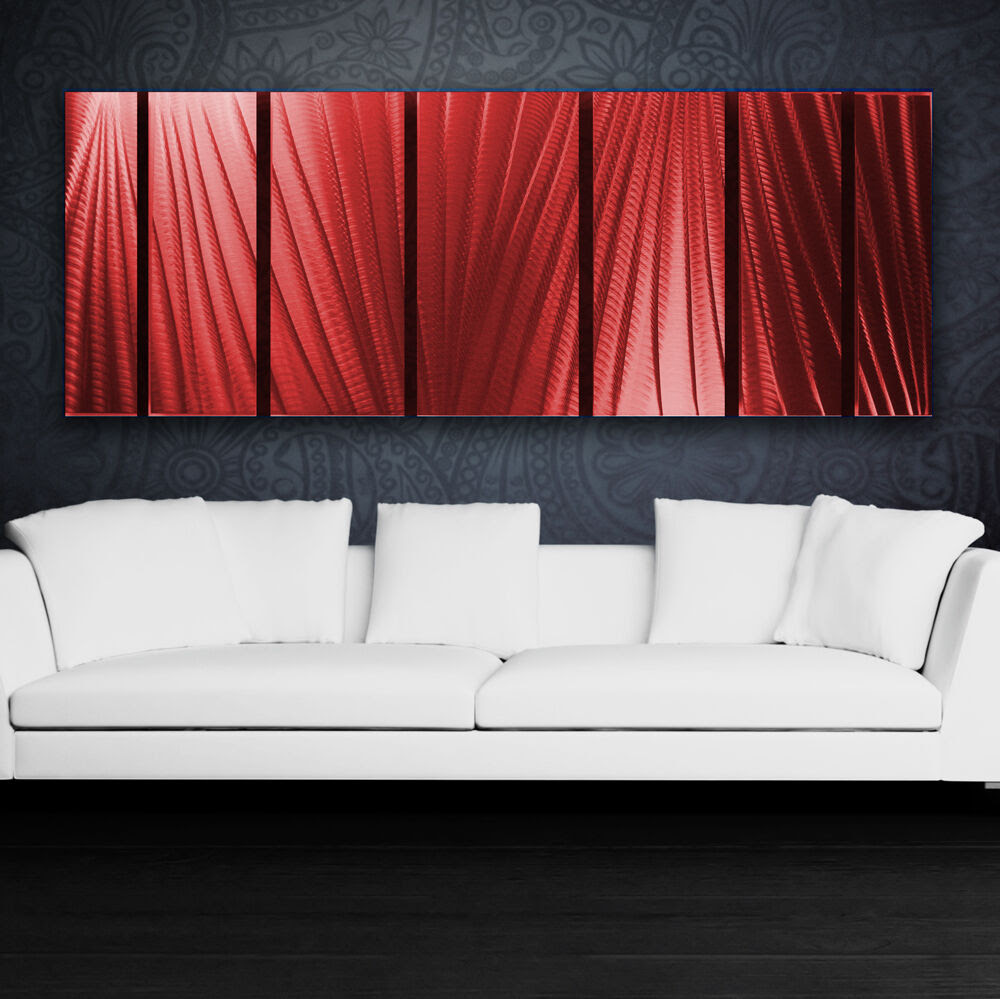 Modern Abstract Metal Wall Art Red Painting Sculpture Home ...
