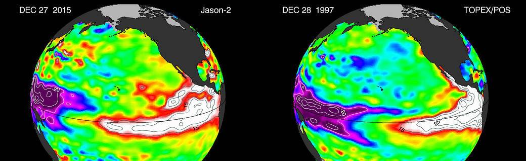 Global view of El Niño 2005 compared to El Niño 1997