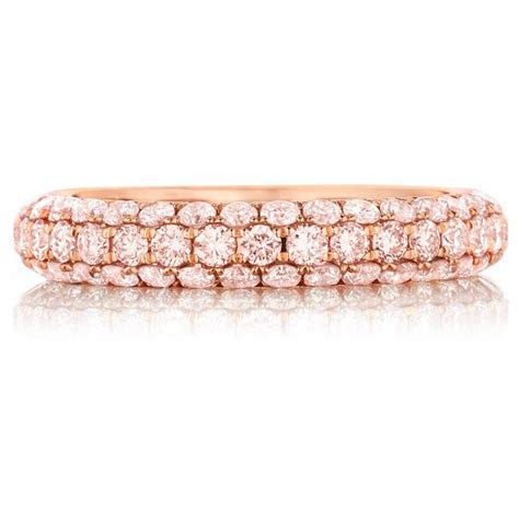 Henri Daussi Domed 3 Row Pink Diamond Pave Band   Wedding