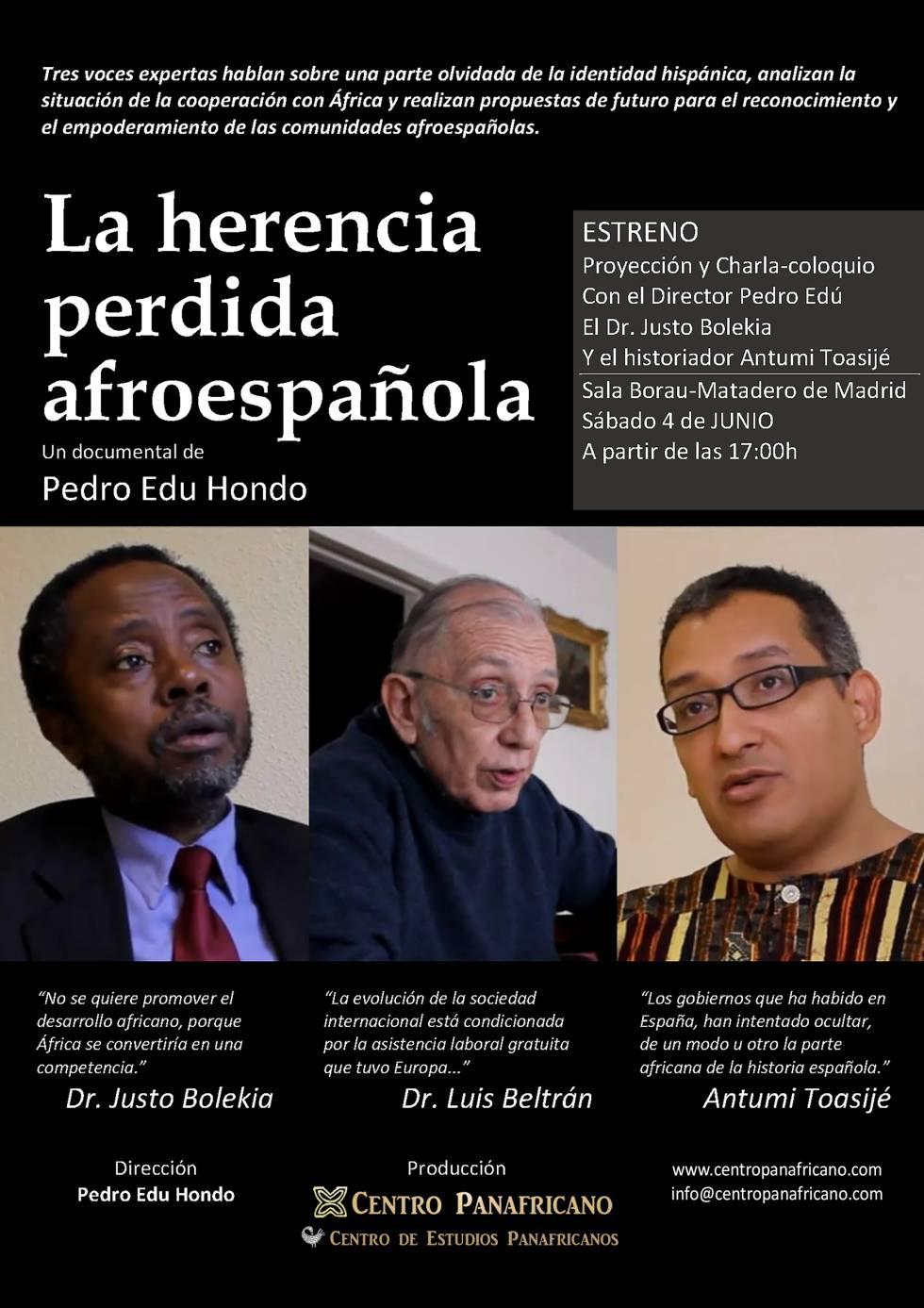 "Cartel de ""La herencia perdida afroespañola"" de Pedro Edu Hondo."