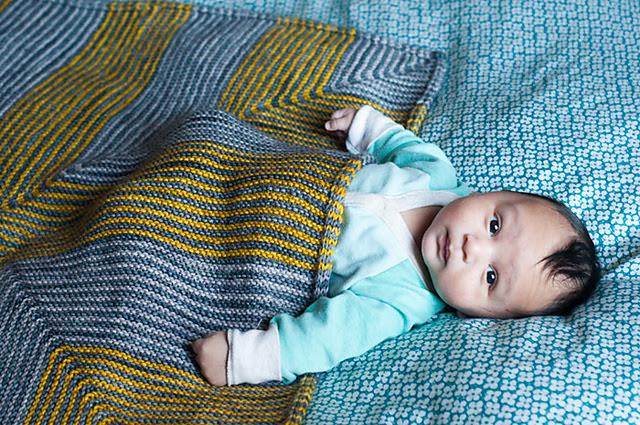 couverture tricotée Baby Leon par Gege à la Gomme